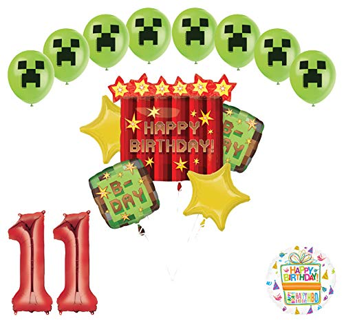 Miner Pixelated TNT Video Game 11th Birthday Balloon Bouquet Decorations