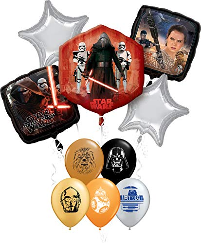 "Star Wars Party Supplies Foil Balloon Bouquet Decorations with 5pc Star Wars 11"" Character Print Latex Balloons Chewbacca, Darth Vader, C3PO, R2D2 and BB8"