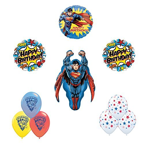 Superman 10pc Happy birthday party balloon supplies and decorations