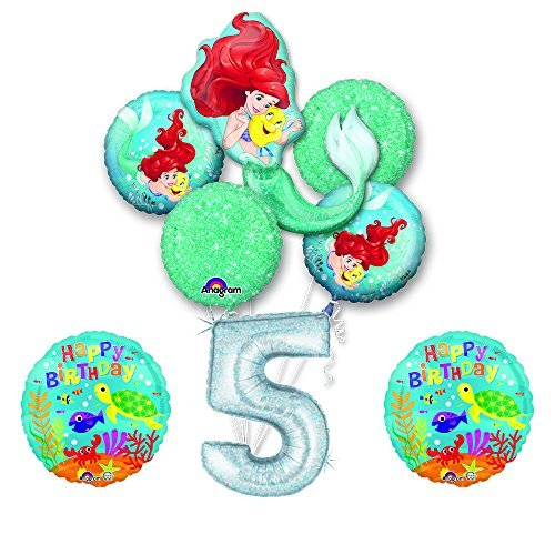 NEW! Ariel Little Mermaid Disney Princess Undersea 5th BIRTHDAY PARTY Balloon decorations supplies