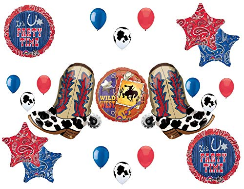 Western Theme Birthday Party Supplies Bandana Hoedown Rodeo Balloon Bouquet Decorations with Two Yeehaw Boots