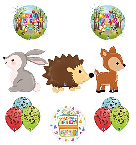 Mayflower Products Woodland Creatures Birthday Party Supplies Balloon Bouquet Decorations Hedgehog Deer and Rabbit