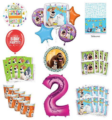 Secret Life of Pets 2nd Birthday Party Supplies 8 Guest kit and Balloon Bouquet Decorations - Pink Number 2