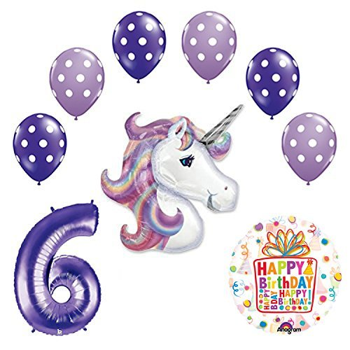 Lavender Unicorn Polka Dot Latex Rainbow 6th Birthday Party Balloon supplies and decorations