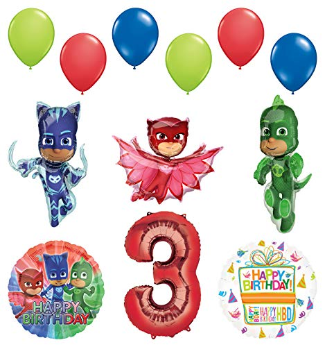 Mayflower Products PJ Masks 3rd Birthday Party Supplies Catboy, Owlette and Gekko Balloon Decorations