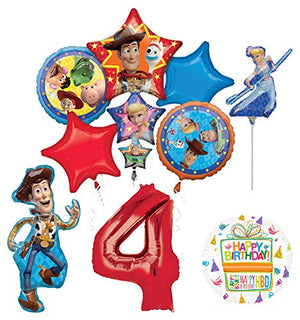 Mayflower Products Toy Story Party Supplies Woody and Friends 4th Birthday Balloon Bouquet Decorations