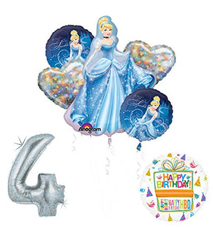 Cinderella 4th birthday party supplies and princess balloon decorations