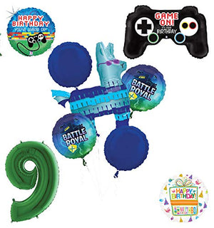 Mayflower Products Battle Royal 9th Birthday Party Supplies Balloons Bouquet Decorations - Green Number 9