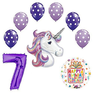 Lavender Unicorn Polka Dot Latex Rainbow 7th Birthday Party Balloon supplies and decorations