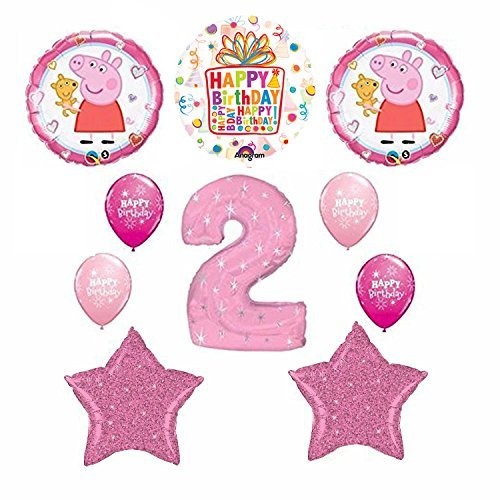 Peppa Pig Pink 2nd Happy Birthday Balloon supplies decorations
