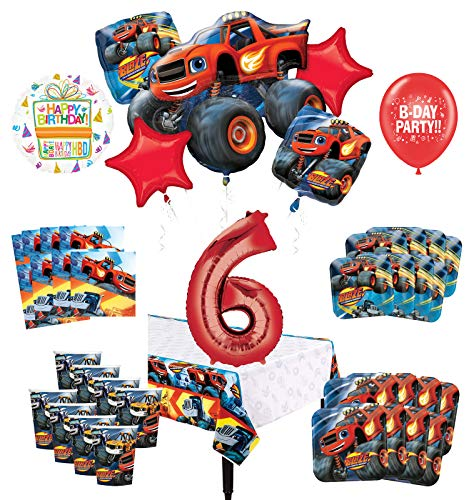 Mayflower Products Blaze and The Monster Machines 6th Birthday Party Supplies 8 Guest Decoration Kit and Balloon Bouquet
