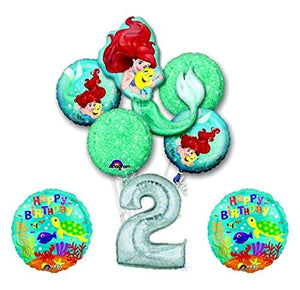 NEW! Ariel Little Mermaid Disney Princess Undersea 2nd BIRTHDAY PARTY Balloon decorations supplies