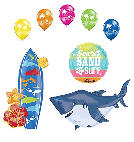 Beach Luau Party Supplies Shark and Surfboard Balloon Bouquet Decorations