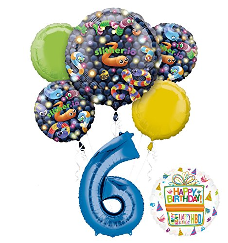 Slither.io Party Supplies 6th Birthday Video Game Balloon Bouquet Decorations
