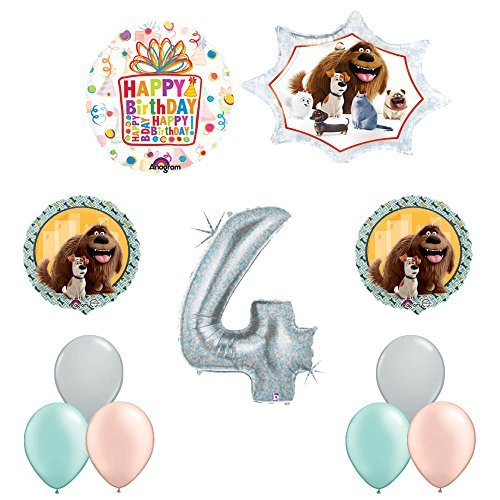 The Secret Life of Pets 4th Holographic Birthday Party Balloon Supply Decorations