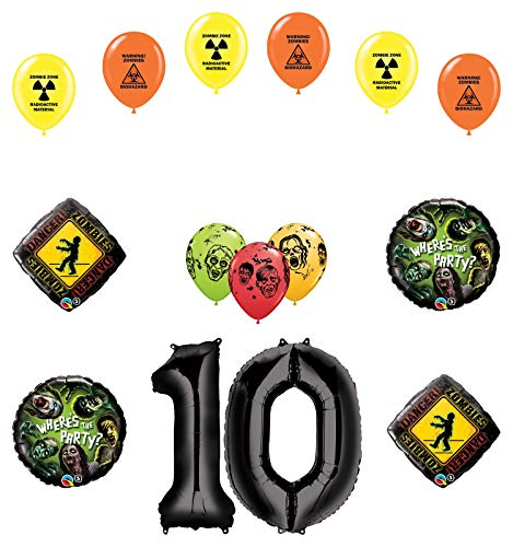 Mayflower Products Zombies 10th Birthday Party Supplies Walking Dead Balloon Bouquet Decorations
