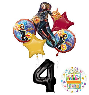 Mayflower Products Captain Marvel Party Supplies 4th Birthday Balloon Bouquet Decorations
