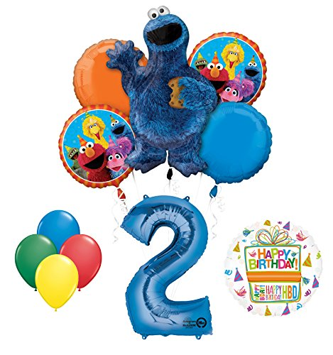 Cookie Monsters Sesame Street 2nd Birthday party supplies and Balloon Decorations