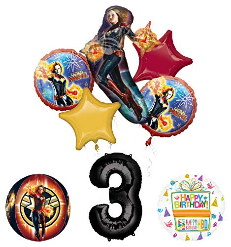 Mayflower Products Captain Marvel 3rd Birthday Party Supplies Balloon Bouquet Decorations with 4 Sided Orbz Balloon
