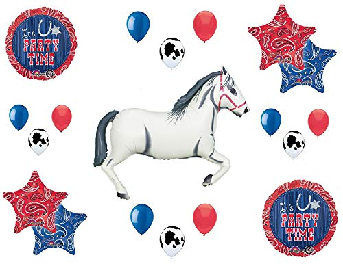 Western Theme Birthday Party Supplies Bandana Hoedown Rodeo Balloon Bouquet Decorations with White Horse