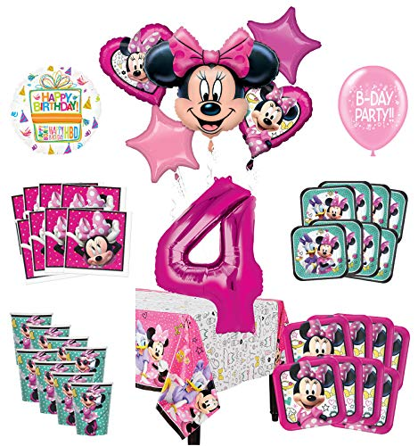 Mayflower Products Minnie Mouse 4th Birthday Party Supplies and 8 Guest Balloon Decoration Kit