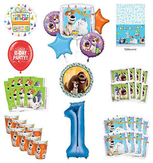 Secret Life of Pets 1st Birthday Party Supplies 8 Guest kit and Balloon Bouquet Decorations - Blue Number 1