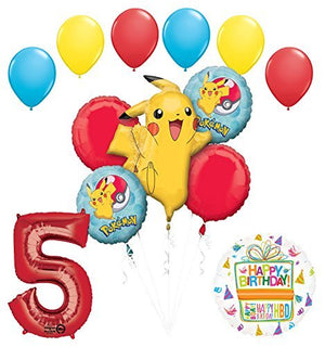 Pokemon 5th Birthday Party Supplies and Balloon Bouquet Decorations