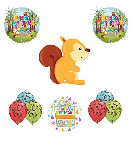 Woodland Creatures Birthday Party Supplies Baby Shower Squirrel Balloon Bouquet Decorations