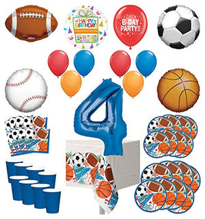 Mayflower Products Sports Theme 4th Birthday Party Supplies 8 Guest Entertainment kit and Balloon Bouquet Decorations - Blue Number 4
