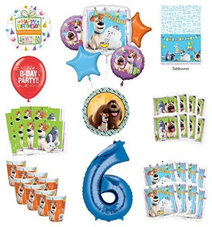 Secret Life of Pets 6th Birthday Party Supplies 8 Guest kit and Balloon Bouquet Decorations - Blue Number 6