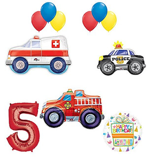 Team Rescue 5th Birthday Party Supplies and First Responders Balloon Bouquet decorations
