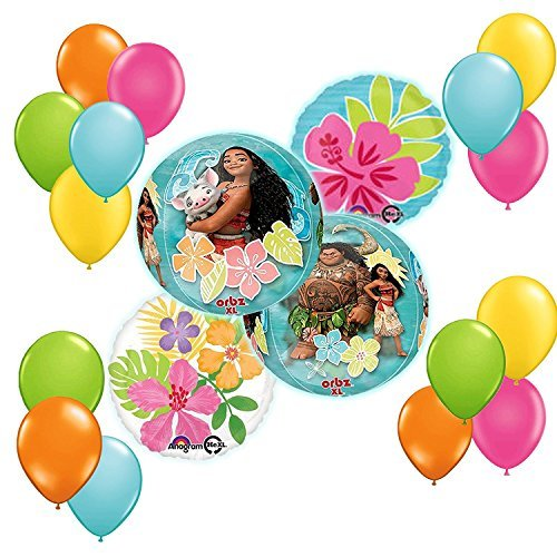 Disney Moana Tropical ORBZ Balloon 19 pc Bouquet Decoration Kit