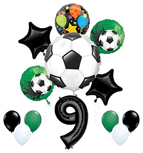 Mayflower Products Soccer Party Supplies 9th Birthday Goal Getter Balloon Bouquet Decorations