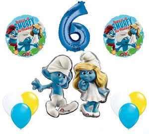 The Smurfs Birthday Party Supplies Smurf and Smurfette 6th Smurfy Birthday Balloon Decorations