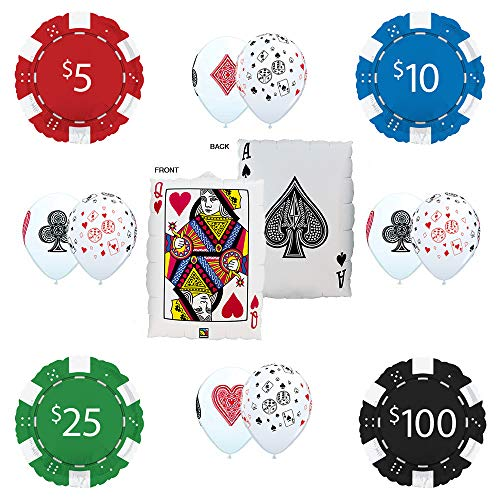 Mayflower Products Casino Night Party Supplies Ace / Queen Place Your Bet Poker Balloon Bouquet Decorations