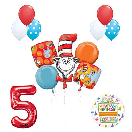 13 pc Dr Seuss Cat in the Hat 5th Birthday Party Balloon Supplies and Decorations