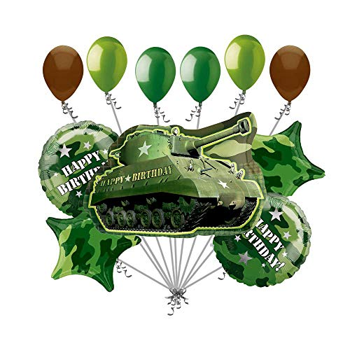 Army Tank Military Camouflage Party Supplies Birthday Balloon Bouquet Decorations