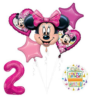 NEW Minnie Mouse 2nd Birthday Party Supplies Balloon Bouquet Decorations