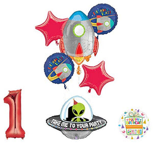 Mayflower Products Blast Off Space Alien 1st Birthday Party Supplies Balloon Bouquet Decoration