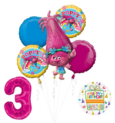 NEW TROLLS POPPY 3rd Birthday Party Supplies And Balloon Bouquet Decorations