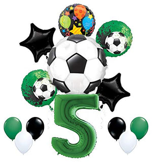 Mayflower Products Soccer Party Supplies 5th Birthday Goal Getter Balloon Bouquet Decorations - Green Number 5