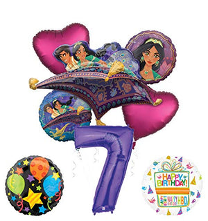 Mayflower Products Aladdin 7th Birthday Party Supplies Princess Jasmine Balloon Bouquet Decorations - Purple Number 7