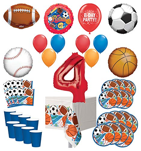 Mayflower Products Sports Theme 4th Birthday Party Supplies 8 Guest Entertainment kit and Balloon Bouquet Decorations - Red Number 4