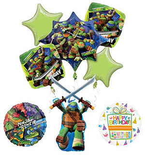 Mayflower Products Teenage Mutant Ninja Turtles Birthday Party Supplies TMNT Leonardo Balloon Bouquet Decorations