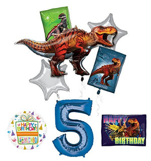 Mayflower Products Jurassic World Dinosaur 5th Birthday Party Supplies and Balloon Decorations