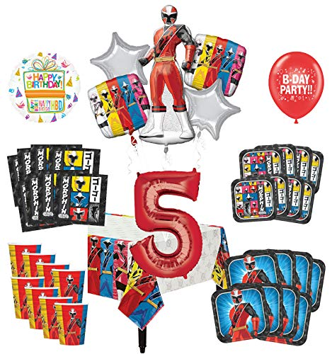 Mayflower Products Power Rangers 5th Birthday Party Supplies 8 Guest Decoration Kit and Balloon Bouquet