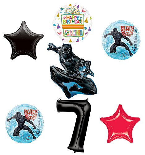 Black Panther 7th Birthday Balloon Bouquet Decorations and Party Supplies