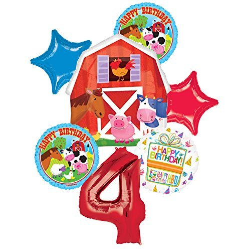 Farm Animal 4th Birthday Party Supplies and Barn Balloon Bouquet Decorations