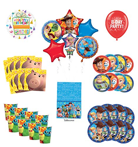 Toy Story Birthday Party Supplies 8 Guest Decoration Kit with Woody, Buzz Lightyear and Friends Balloon Bouquet