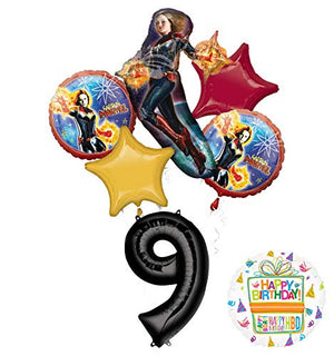 Mayflower Products Captain Marvel Party Supplies 9th Birthday Balloon Bouquet Decorations